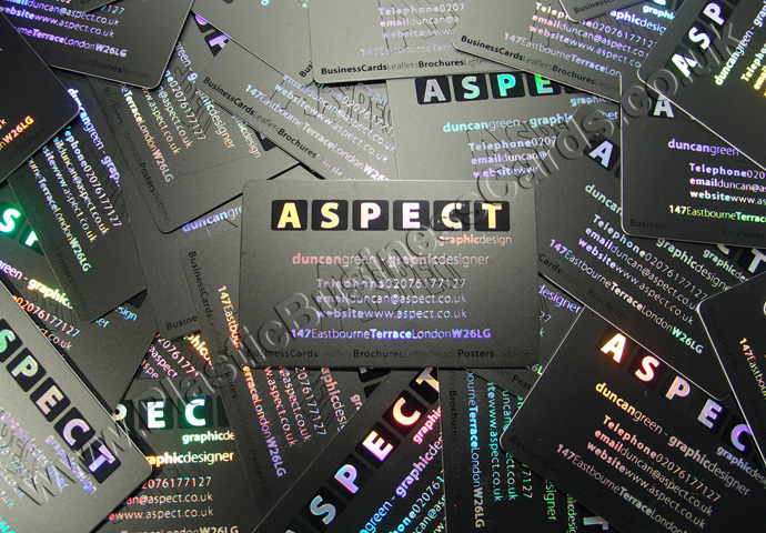 black plastic business cards with metallic foiling