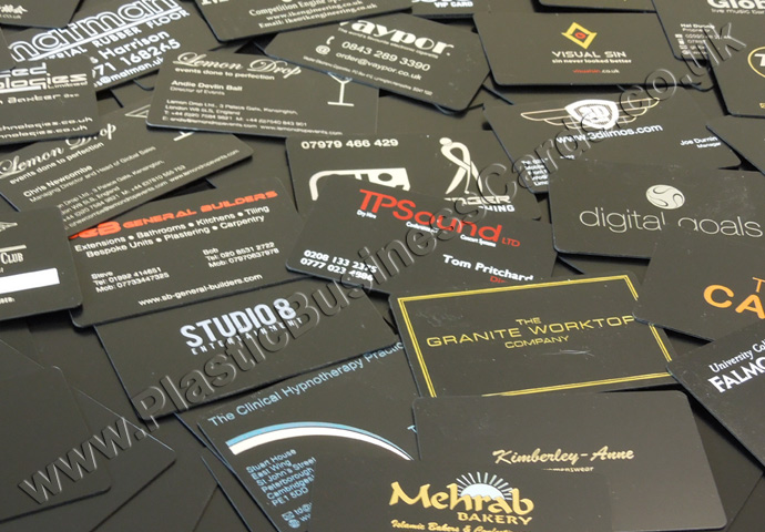 various matt black plastic cards
