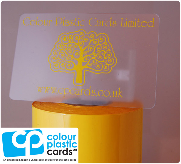 clear frosted plastic business cards printed with bright yellow ink