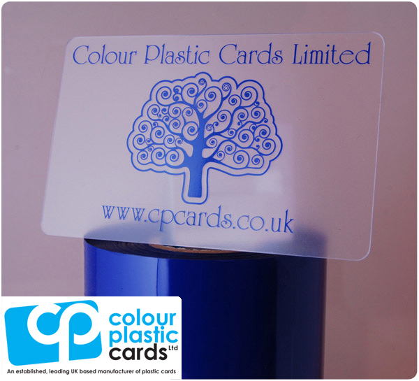 clear frosted plastic business cards printed with dark blue ink