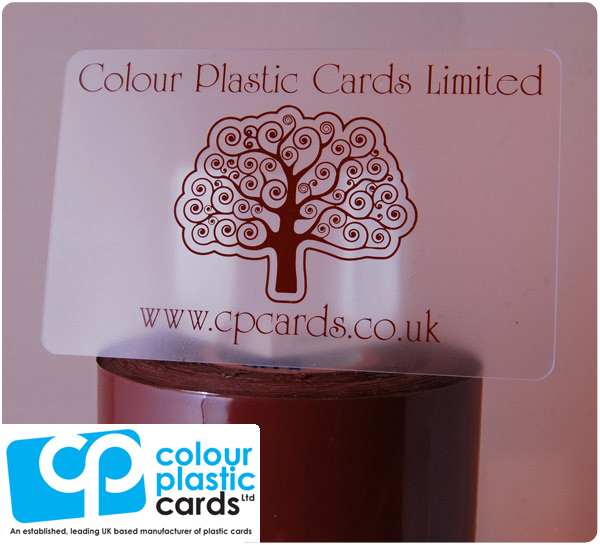 clear frosted plastic business cards printed with dark brown ink