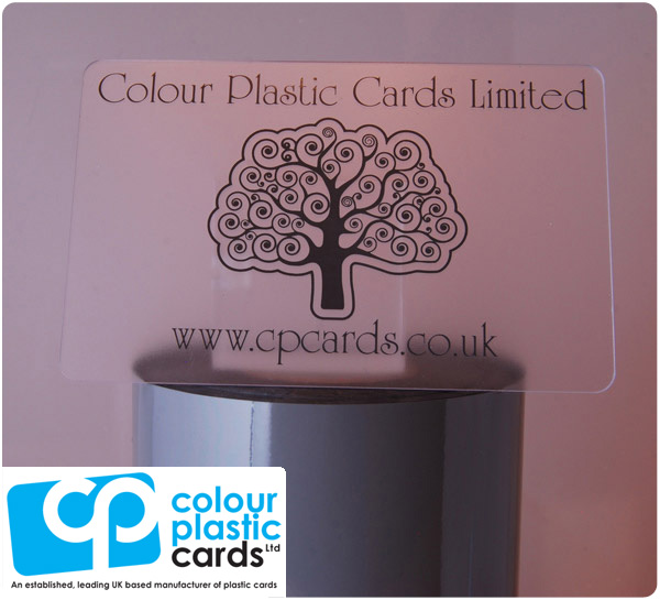 clear frosted plastic business cards printed with dark grey ink