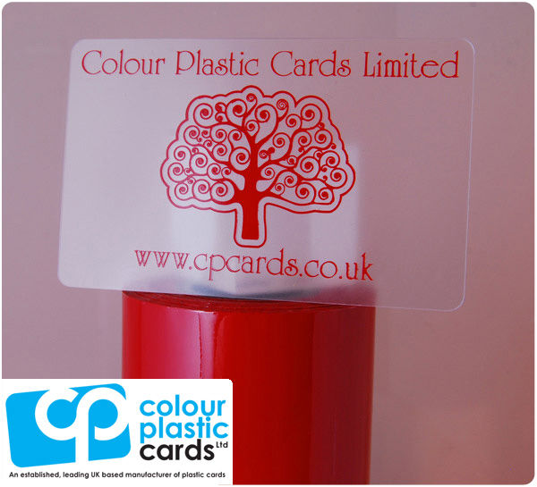 clear frosted plastic business cards printed with dark red ink