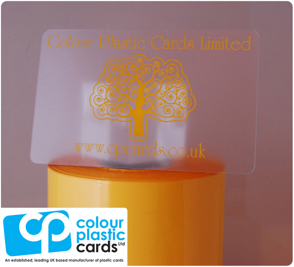 clear frosted plastic business cards printed with dark yellow ink