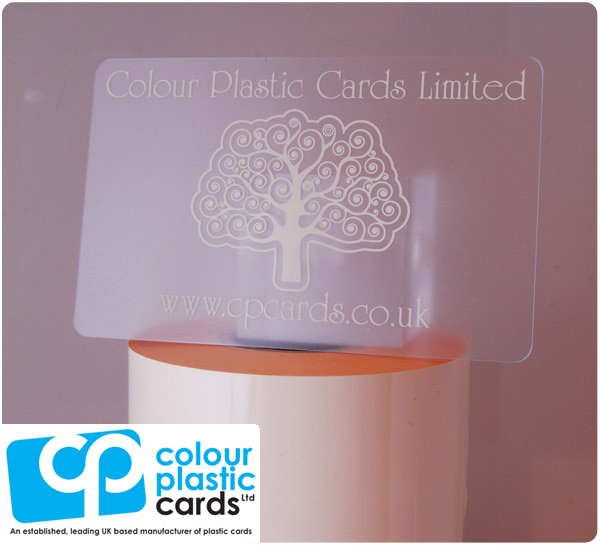 clear frosted plastic business cards printed with ivory ink