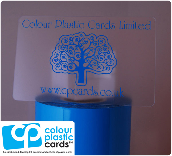 clear frosted plastic business cards printed with light blue ink