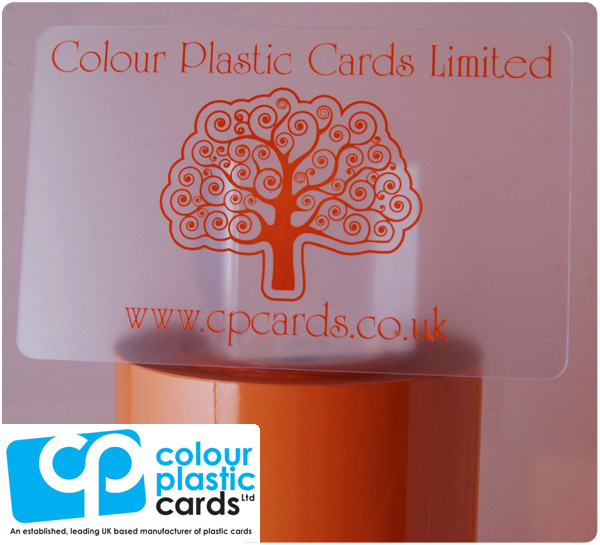 clear frosted plastic business cards printed with light brown ink