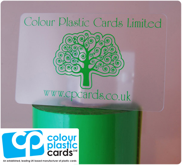 clear frosted plastic business cards printed with light green ink