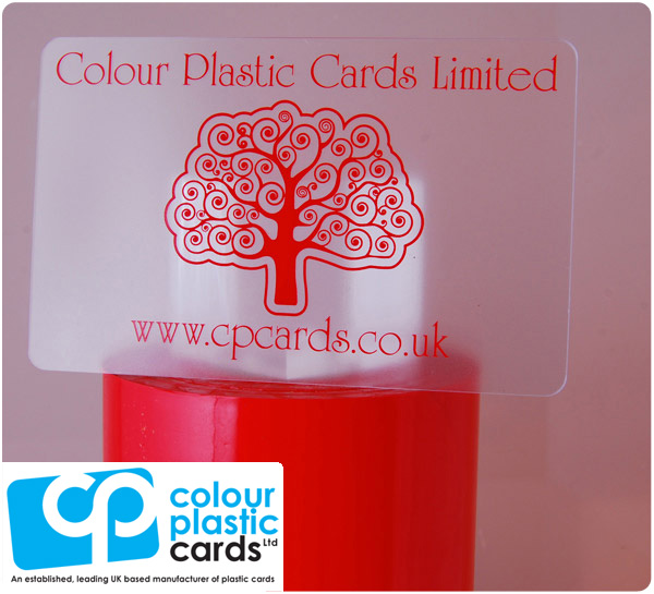 clear frosted plastic business cards printed with light red ink
