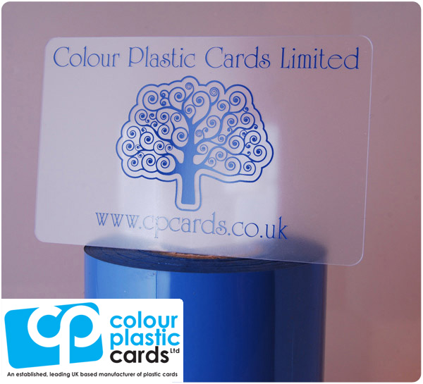 clear frosted plastic business cards printed with medium blue ink