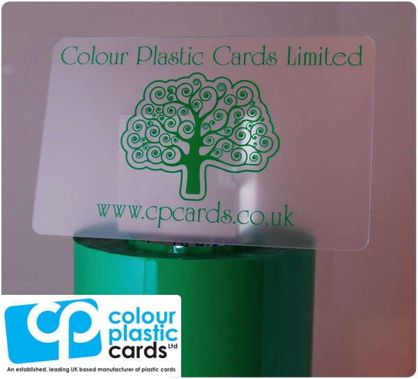 clear frosted plastic business cards printed with medium green ink