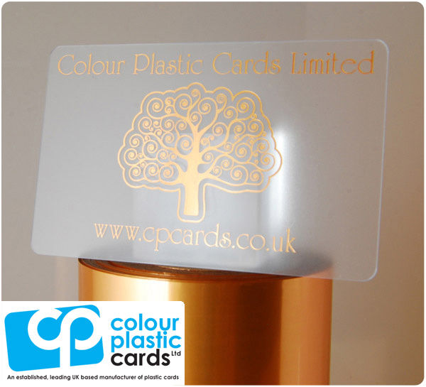 clear frosted plastic business cards printed with metallic copper ink