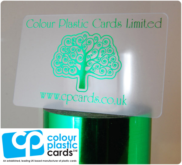 clear frosted plastic business cards printed with metallic green ink