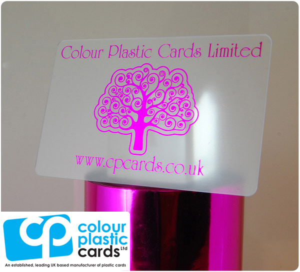 clear frosted plastic business cards printed with metallic pink ink