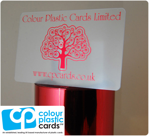 clear frosted plastic business cards printed with metallic red ink