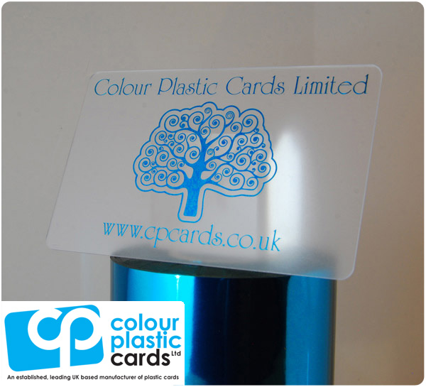clear frosted plastic business cards printed with metallic turquoise ink