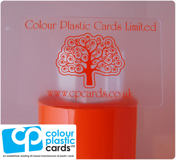 clear frosted plastic business cards printed with orange ink