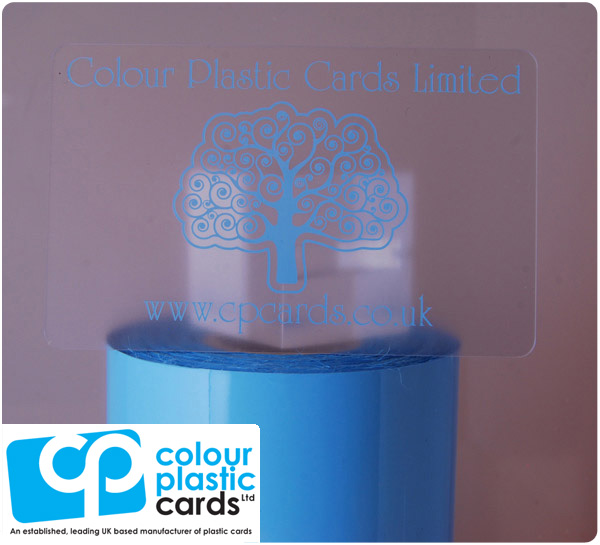 clear frosted plastic business cards printed with pale blue ink