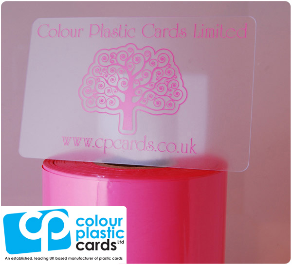 clear frosted plastic business cards printed with pink ink