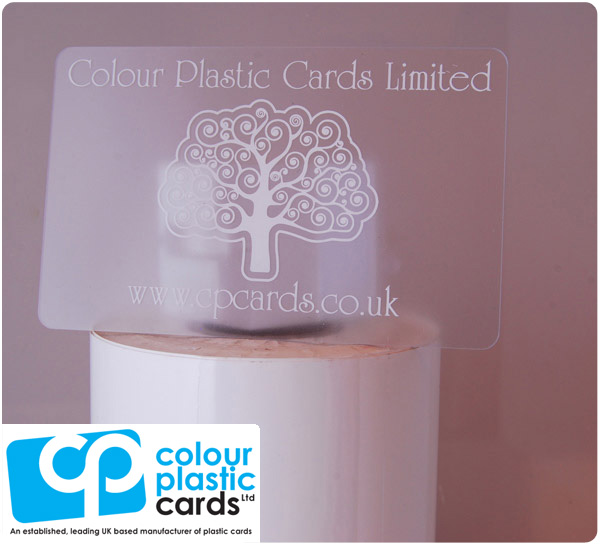 clear frosted plastic business cards printed with white ink