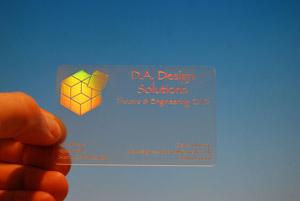 holographic printing on clear cards