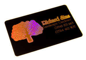 holographic printing on black plastic cards