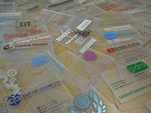 selection of clear plastic business cards