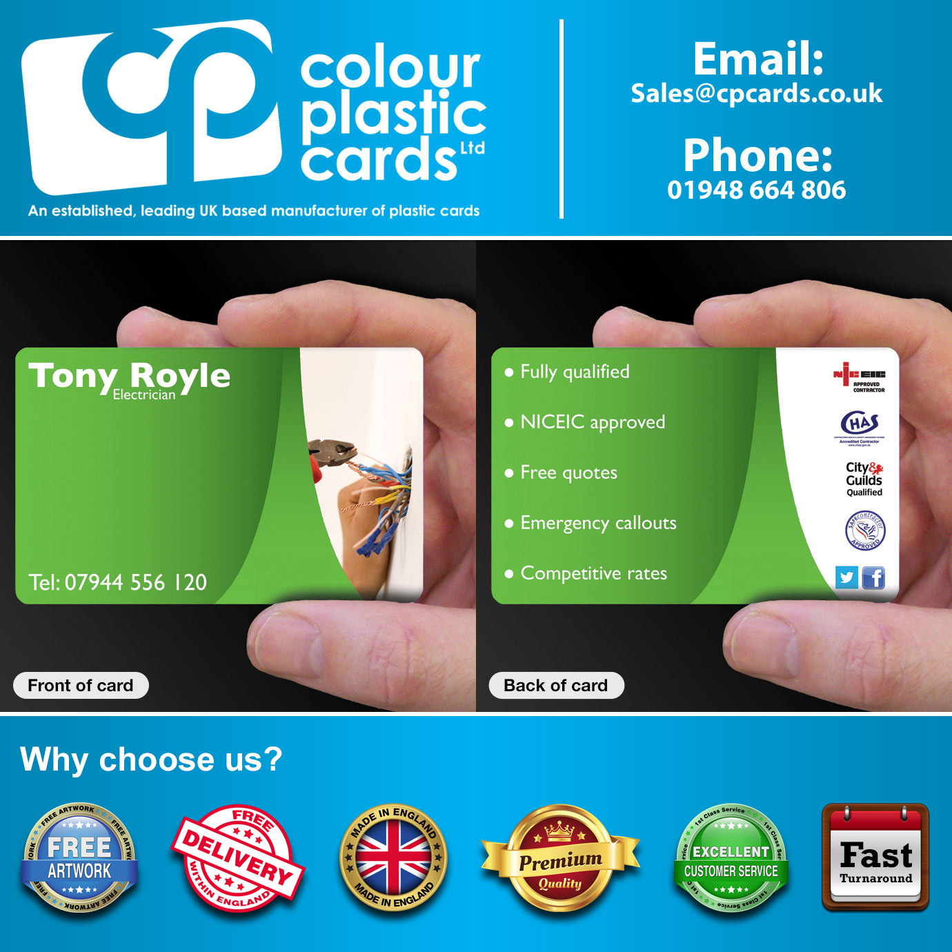 Business Card Printing for Electricians - CPcards
