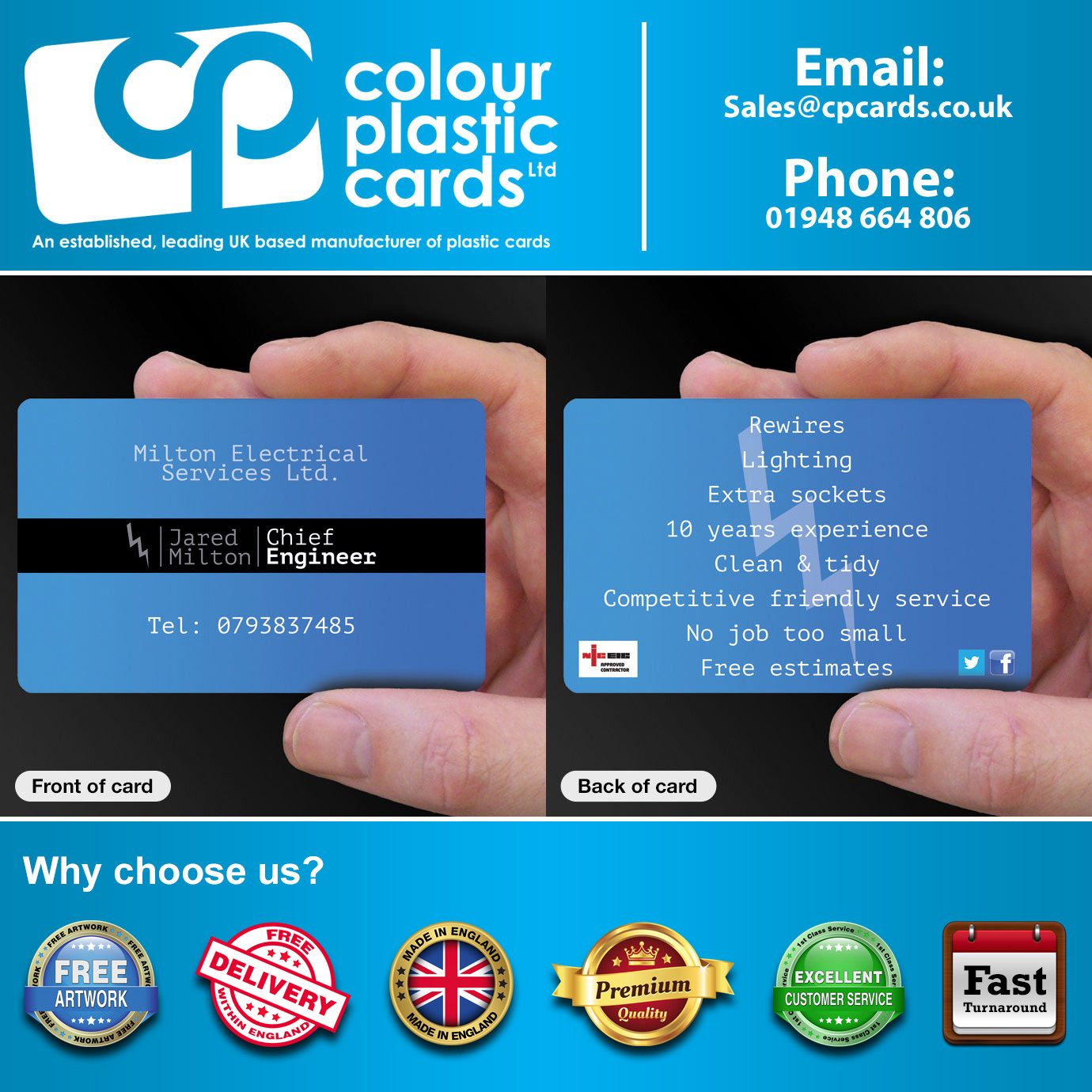 Business Card Printing For Electricians CPcards - Electrician business cards templates free