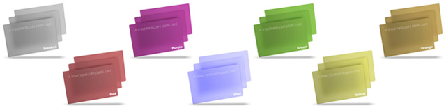 tinted translucent plastic cards