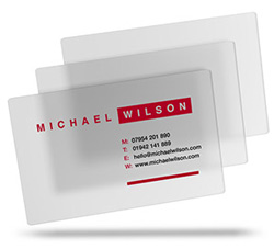 Michael Wilson's frosted translucent clear plastic business cards