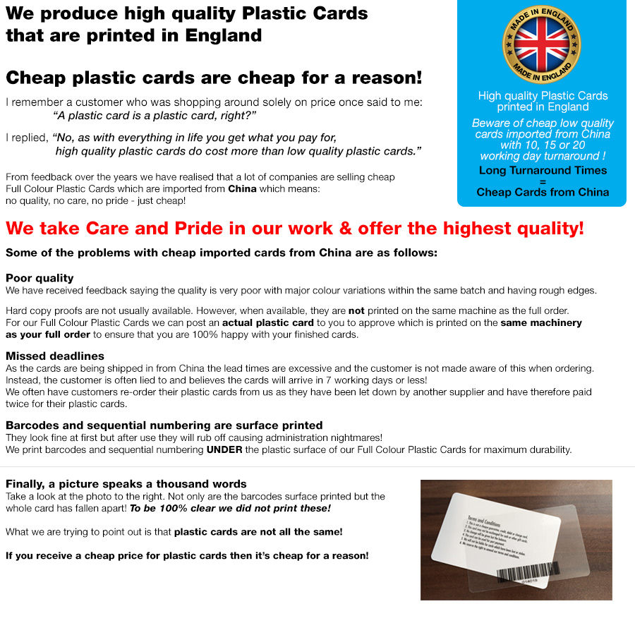 find out about our high quality plastic cards