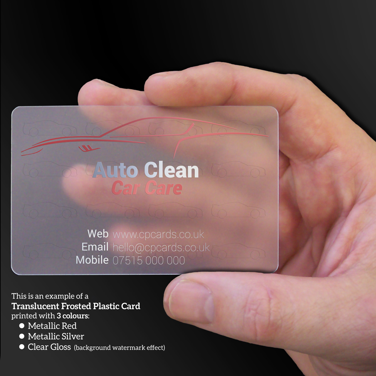 Translucent business card examples cpcards auto clean car care frosted translucent clear plastic business cards reheart Gallery