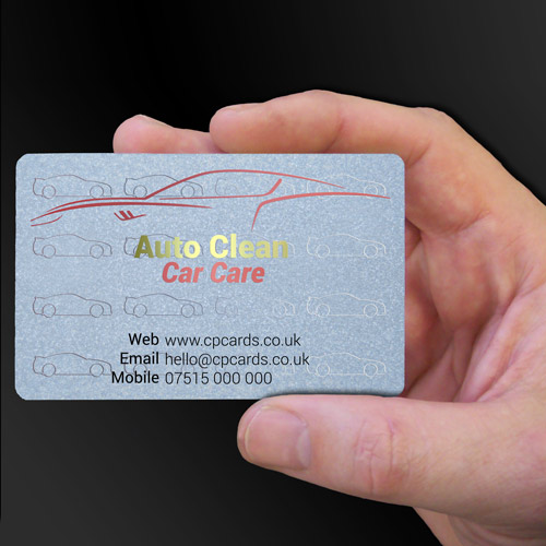 Auto Clean Car Care frosted translucent clear plastic business cards