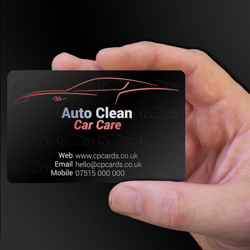 Satin black plastic card examples cpcards auto clean car care satin black plastic business cards reheart Image collections