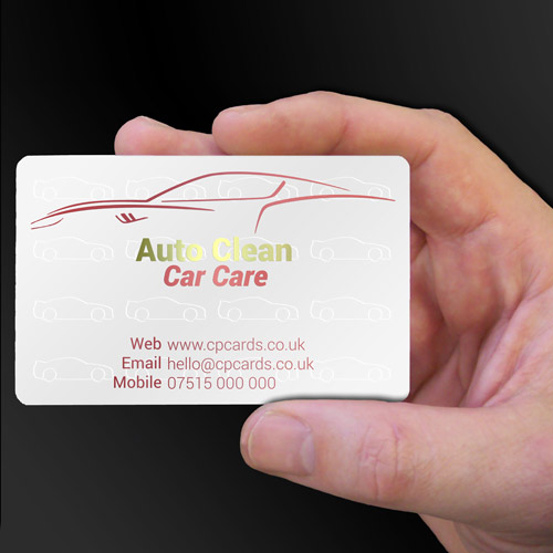 Auto Clean Car Care white plastic business cards