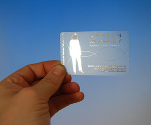 clear plastic card printed with metallic silver foil