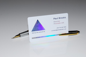 white plastic card with metallic holoprint foiling