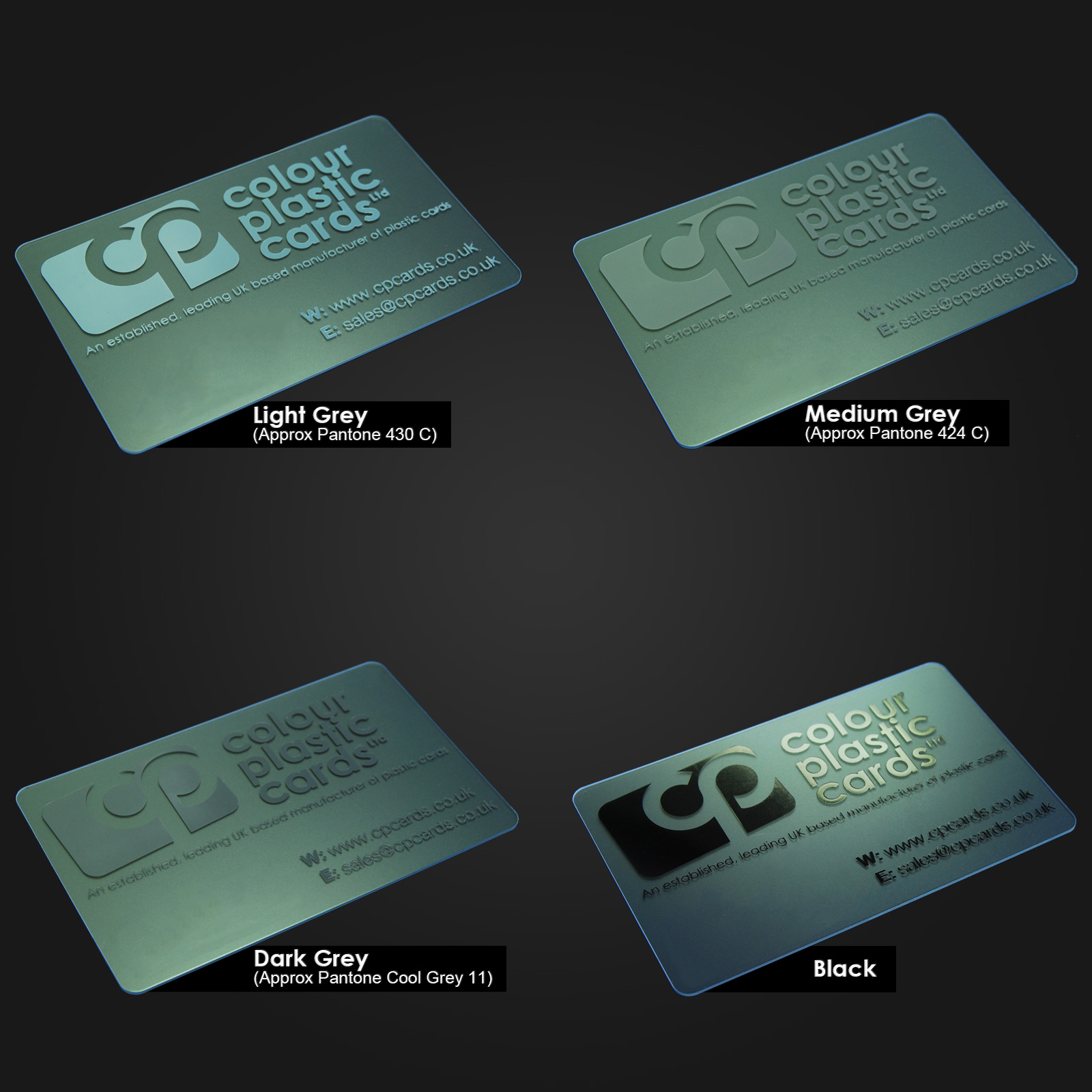 Clear Business Cards Ink Colours CPcards