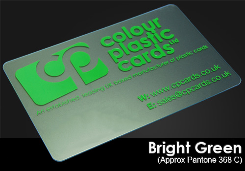 bright green printed on a frosted plastic card