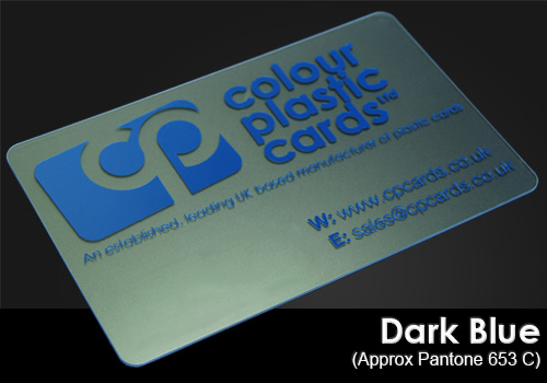 dark blue printed on a frosted plastic card