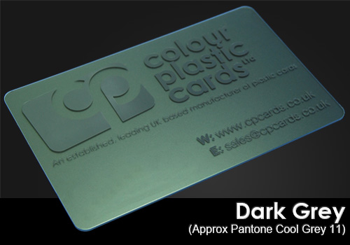 dark grey printed on a frosted plastic card