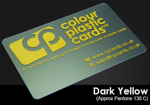 dark yelow printed on a frosted plastic card