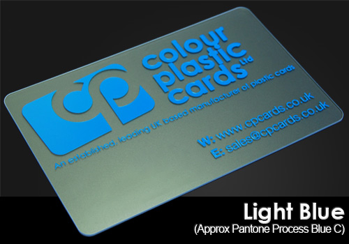 light-blue printed on a frosted plastic card