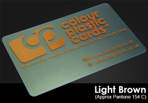light brown printed on a frosted plastic card