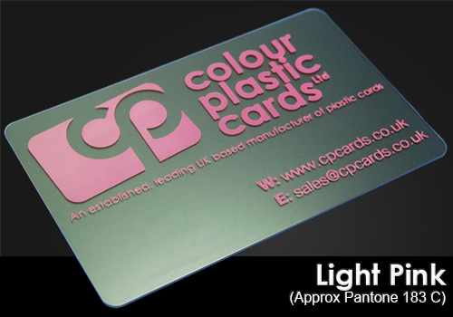 light pink printed on a frosted plastic card