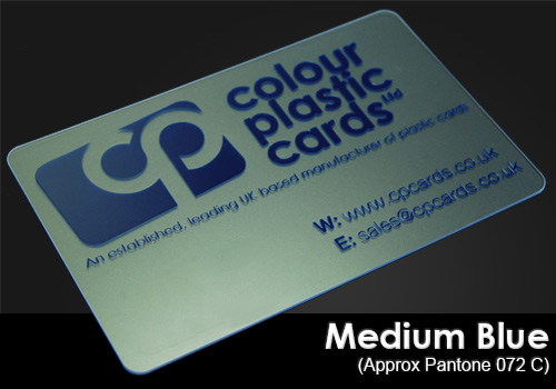 medium blue printed on a frosted plastic card