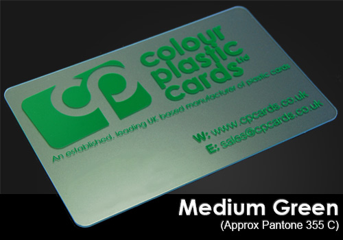 medium green printed on a frosted plastic card