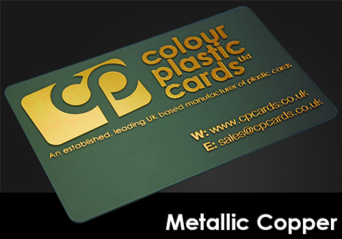 metallic copper printed on a frosted plastic card