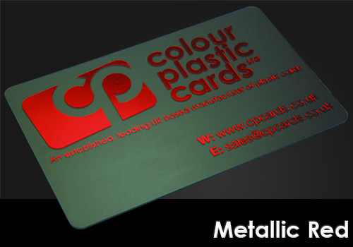 metallic red printed on a frosted plastic card